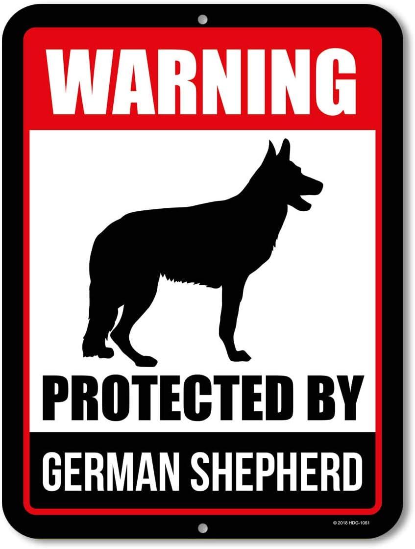 Honey Dew Gifts Beware of Dog Sign Warning Protected by German Shepherd 9 x 12 Inch Beware of Dog Warning Metal Aluminum Sign Decor Beware of Dog Sign