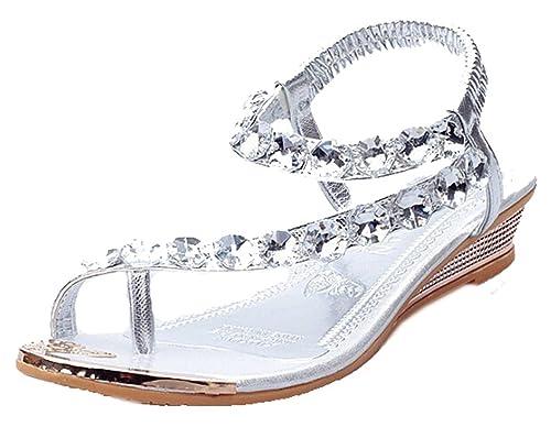 EGELEXY Women Sandals Bling Rhinestone Flats Sandals Fashion Flip Flops  Shoes US 5.5 Sliver 3a4b1d7d4