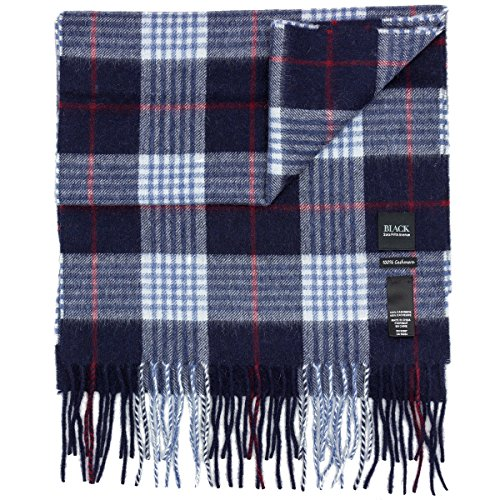 black saks fifth avenue 100% blue checked cashmere winter scarf - Cashmere Fifth Avenue