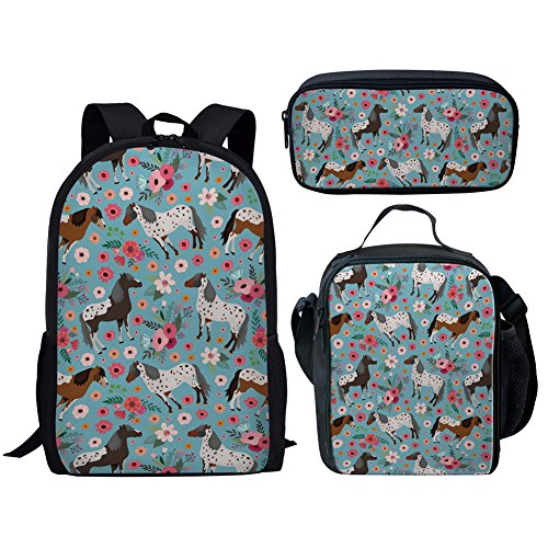 Middle School Student Backpack Lunch Bag Set Pen Bags Fashion Durable Large Book Bag Floral Horse Print