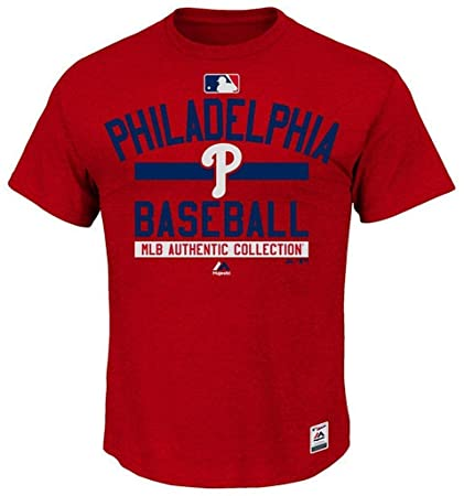 c138d3e5a06 Majestic Philadelphia Phillies MLB Mens Color Block Authentic Collection  Shirt Red Big   Tall Sizes (
