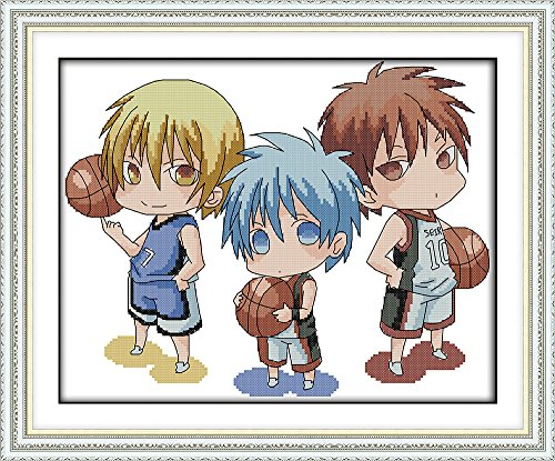 CaptainCrafts Hot New Cross Stitch Kits Needlecrafts Patterns Counted Embroidery Kit - Basketball Boys (WHITE)