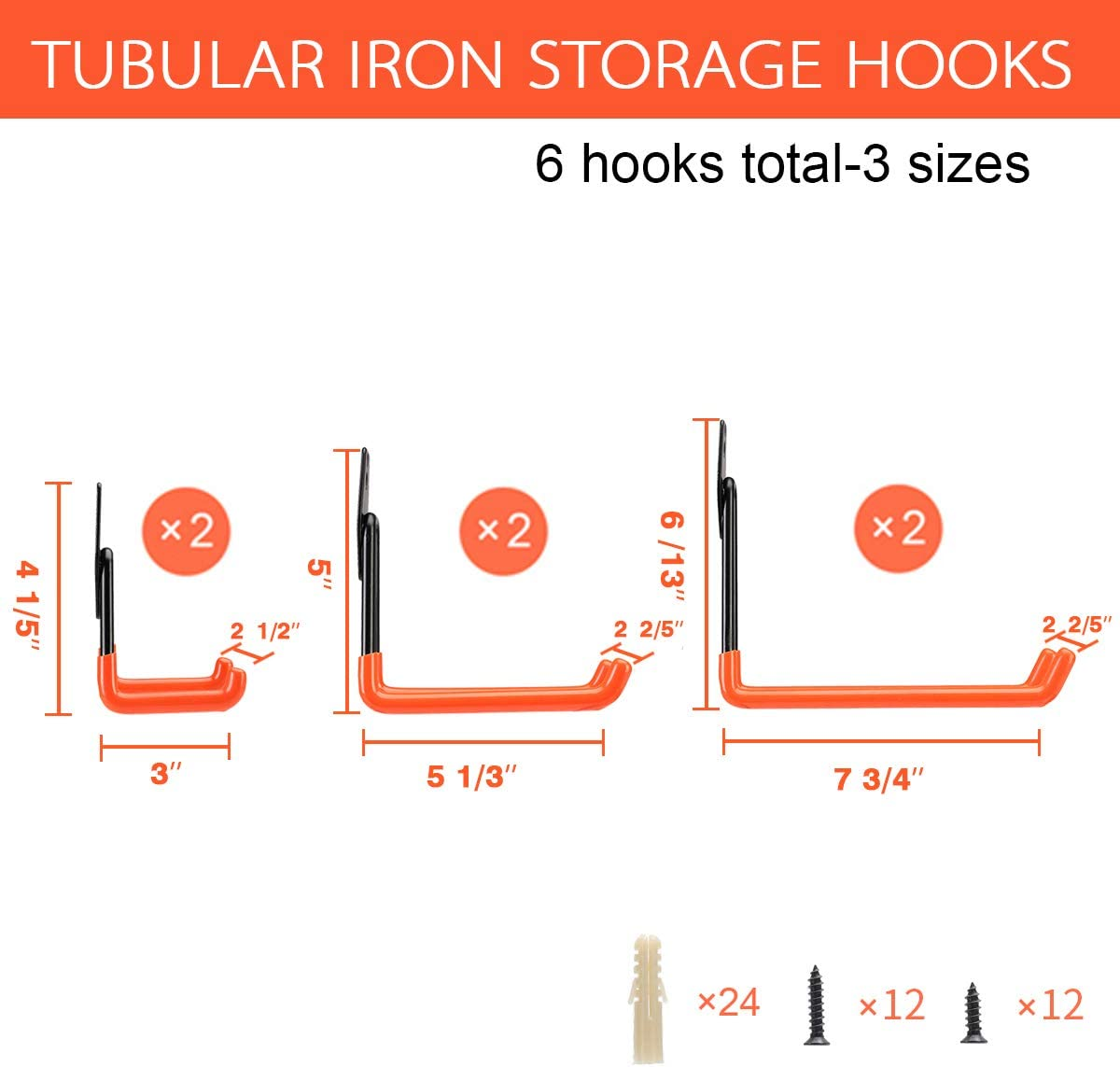 4 Pack, Orange Wall Mount Garage Hanger /& Organizer Ihomepark Heavy Duty Garage Storage Utility Hooks for Ladders /& Tools Tool Holder U Hook with Anti-Slip Coating