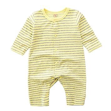 3abddf2c71c76 DWSIOOW ベビー服 ボーダーロンパース 長袖ボディスーツ 新生児肌着 男の子 女の子 ロンパース カバーオール ボーダー柄 つなぎ