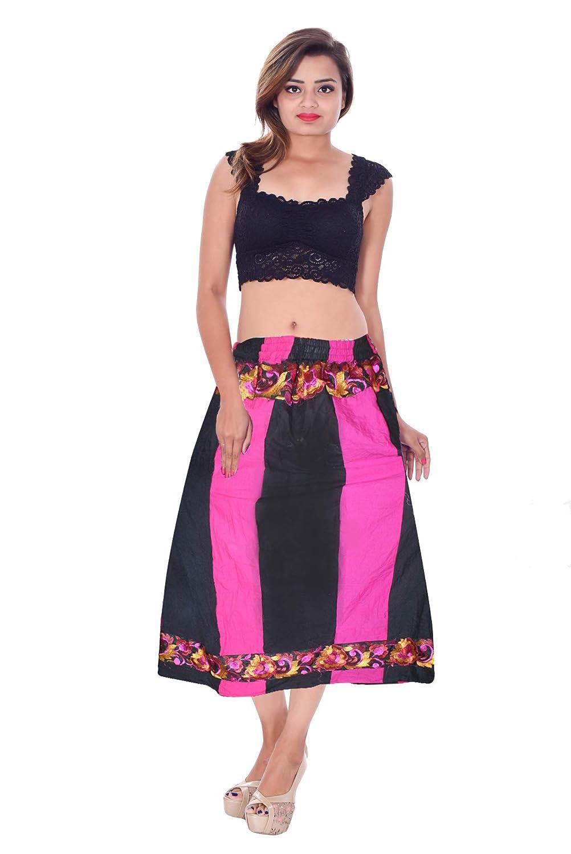 Lakkar Haveli - Falda India para Mujer (Talla Grande), Color Negro ...