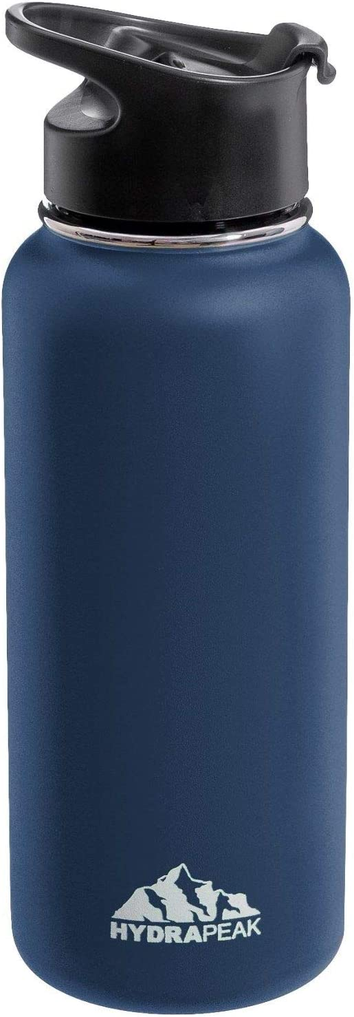 Hydrapeak Stainless Steel Vacuum Insulated Water Bottle, BPA Free Leak Proof Wide Mouth, Double Walled, Flask with Handle Lid. (Navy, 40oz)
