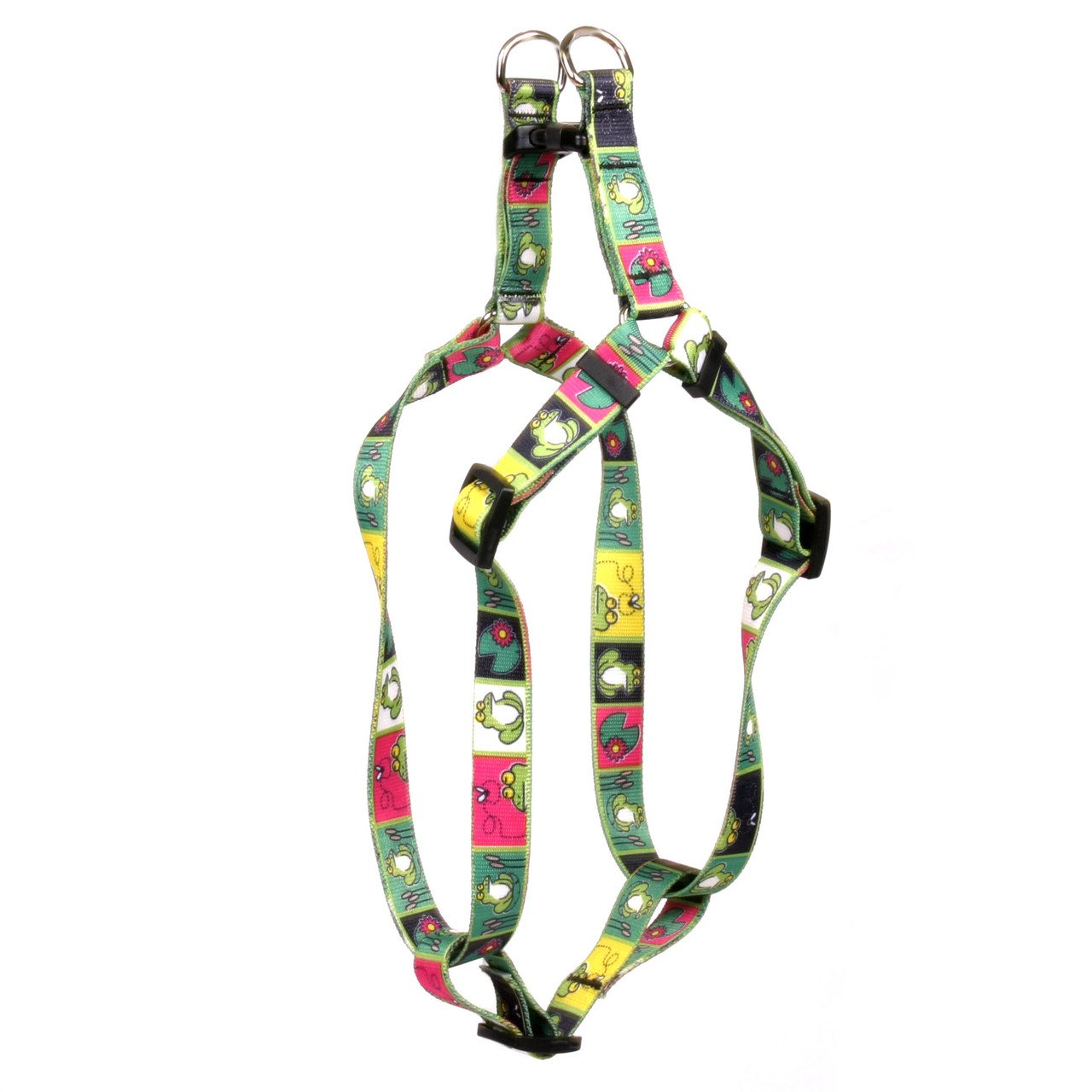 Yellow Dog Design Frogs Step-In Dog Harness 3/4'' Wide And Fits Chest Circumference Of 15 To 25'', Medium