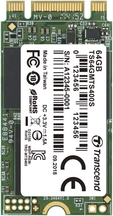 Transcend 64GB SATA III 6GB/S MTS400S 42 mm M.2 SSD 400S Solid State Drive TS64GMTS400S