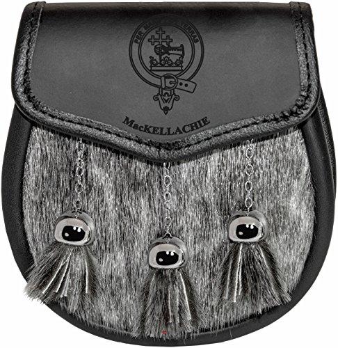 MacKellachie Semi Sporran Fur Plain Leather Flap Scottish Clan Crest
