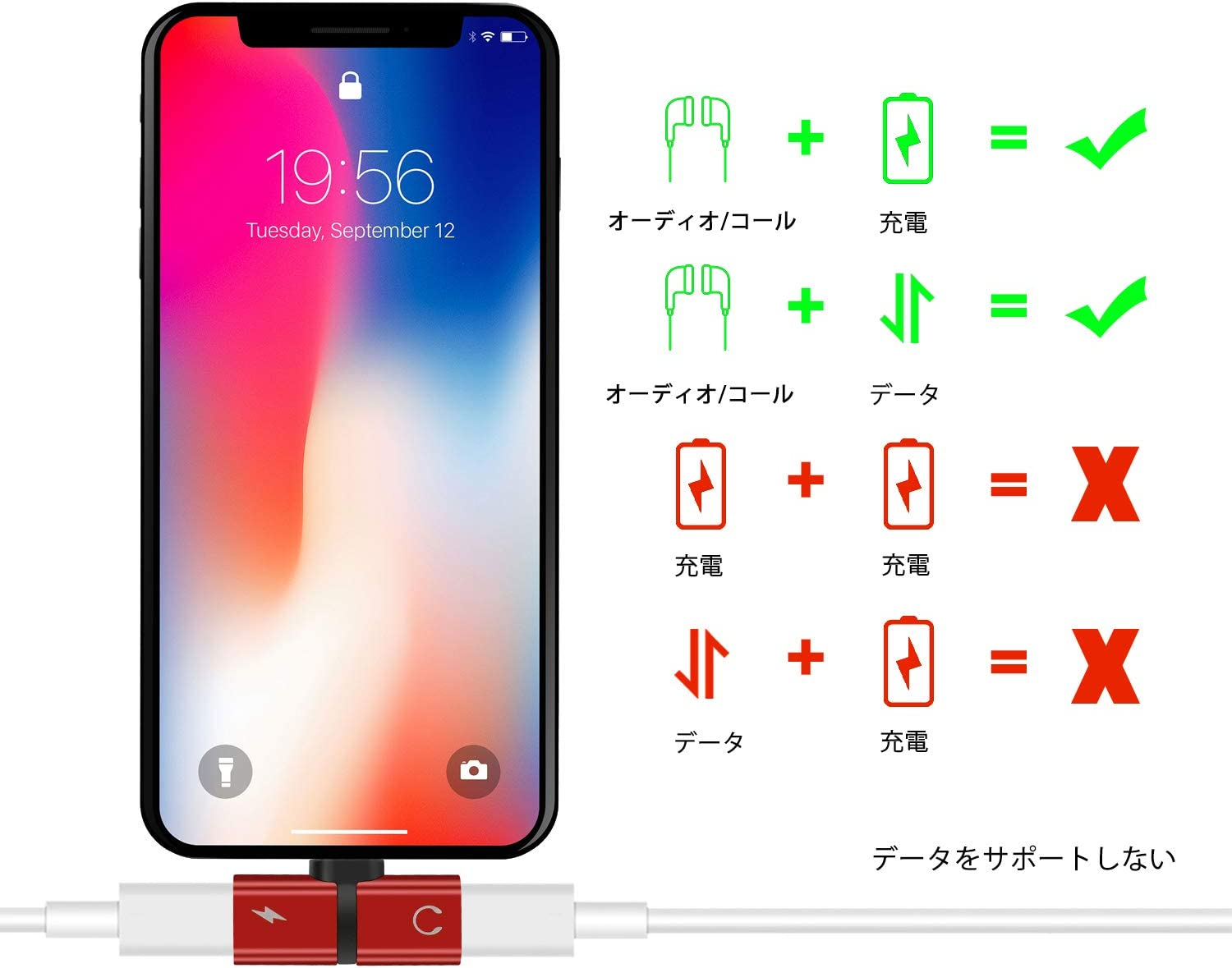 Red Headphone/Jack/Adapter 2 in 1 Dual Headphone Jack Audio for iPhone X 8Plus 8 7Plus 7 Music/Headphones Charging Adapter Charger Accessories Phone Call Adapter