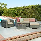 Caribe 4-Piece All Weather Grey Wicker Patio Seating Set with Beige Cushions offers