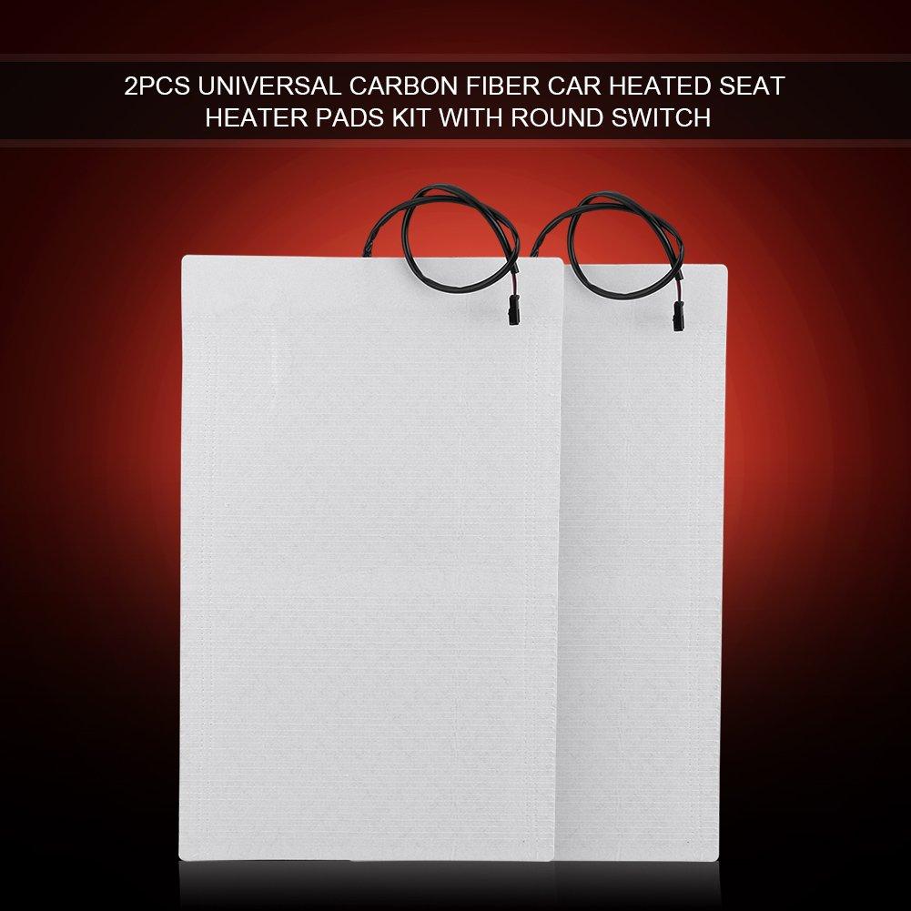 Carbon Fiber Seat Heater Kit Acouto 2pcs Universal Carbon Fiber Car Heated Seat Heater Pads Kit with Round Switch 1 Set