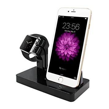 ALLCACA 2 en 1 Estación de Carga para iPhone/Apple Watch Serie 1&2&3/iPad Mini Dock iPhone5/5s/6/6S/6plus/7/7plus/8/8plus/X Cargador Apple Watch