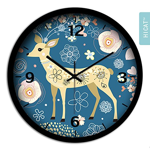 BYLE Non Ticking Battery Operated Decorative Creative Fashion Cute Camouflage Small Deer Bedroom Living Room Electronic Quartz Clock Home Decor Wall Clock, 12 Inch,Cg033 Black-Black Gold -