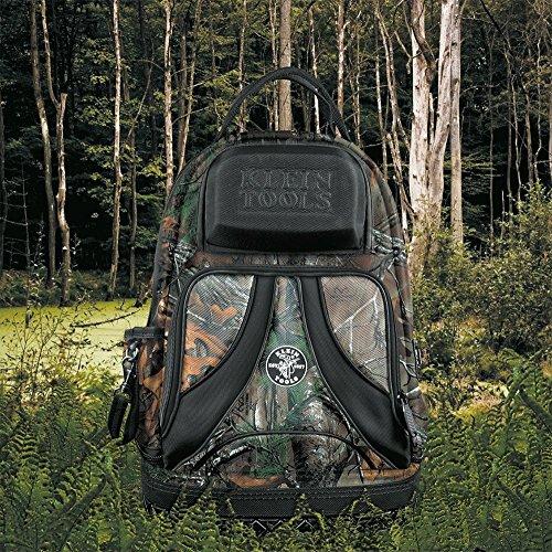 Backpack, Electrician Tool Bag, Camo Tradesman Pro Organizer, 39 Pockets, Molded Base Klein Tools 55421BP14CAMO