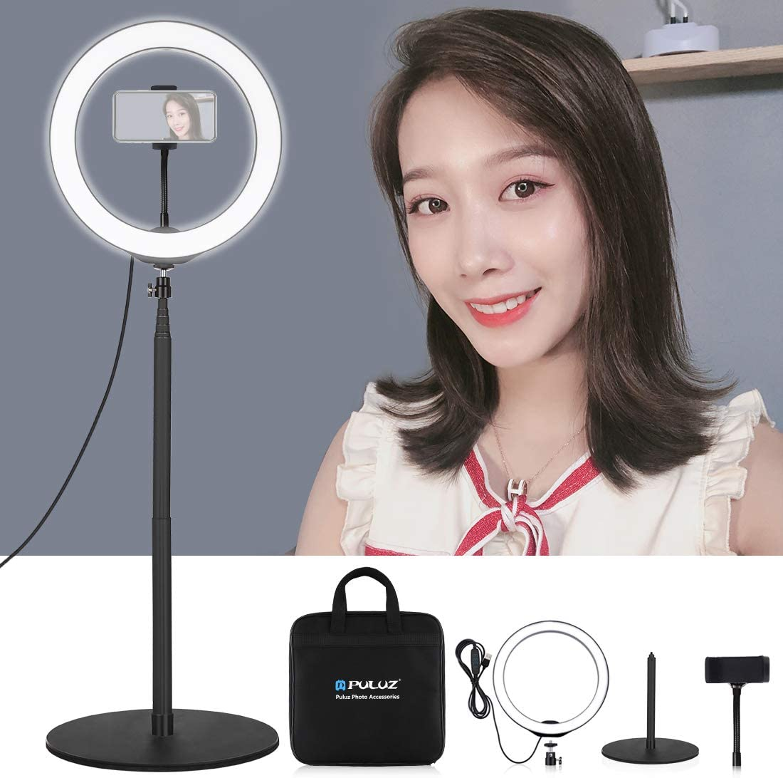 Pink Black Color : Black HUIFANGBU 10.2 inch 26cm USB RGBW Dimmable LED Ring Vlogging Photography Video Lights with Cold Shoe Tripod Ball Head /& Remote Control /& Phone Clamp