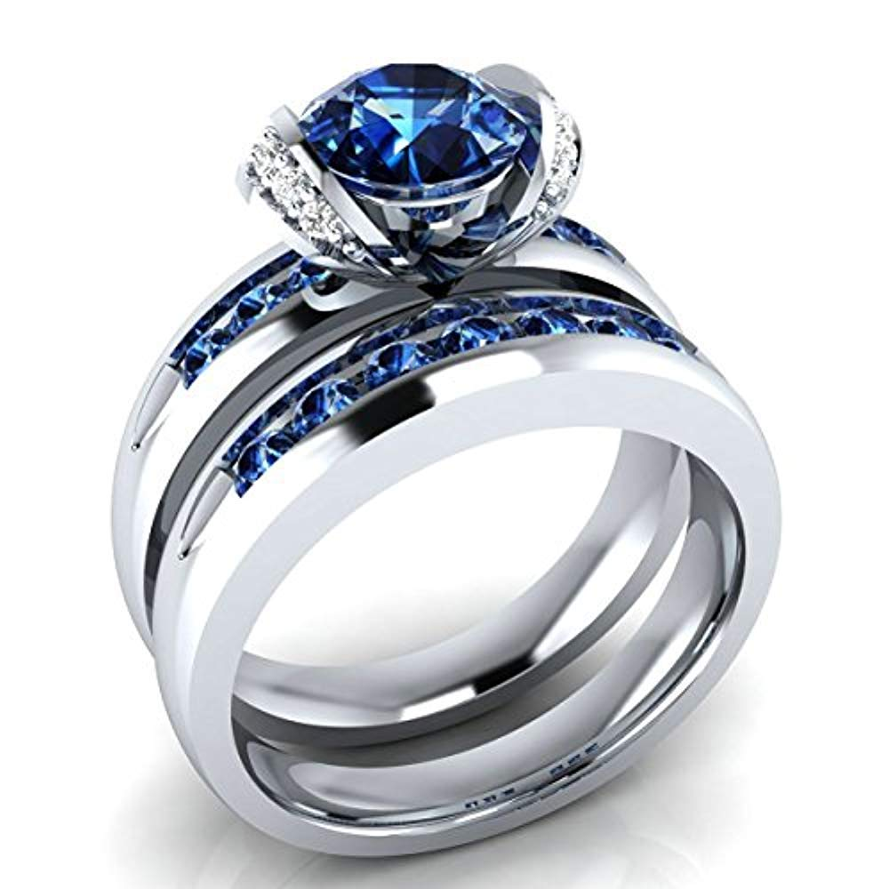 fbc556bc42d7b Amazon.com  tusakha Created Genuine 1.50 Ct Round Cut Blue Sapphire   White Diamond  Engagement Ring Bridal Set .925 Sterling Silver  Jewelry