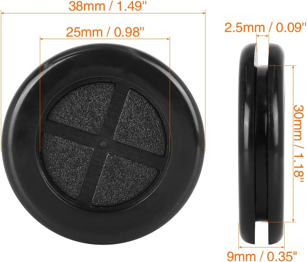 X AUTOHAUX 25pcs 30mm Rubber Grommet Eyelet Ring Gasket Double Side O Ring Electric Cable Protector Black for Car