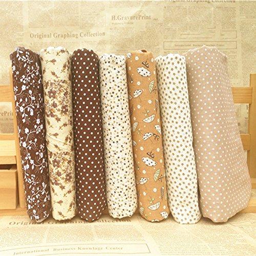 Aland 7Pcs 25x25cm Polka Dot Flower Cotton Fabric Cloth Sewing DIY Crafts Accessory 25Cm25Cm Cotton Small Floral Handmade DIY Cotton Coffee