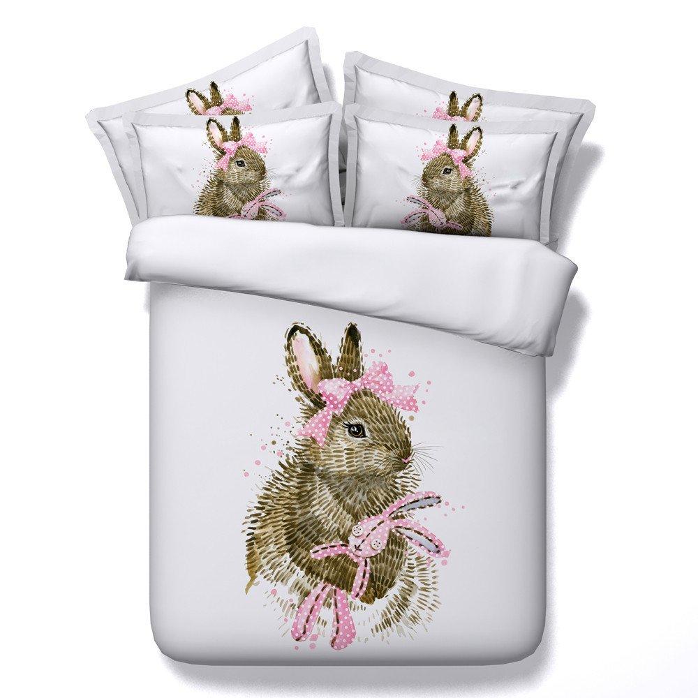 EsyDream 3D Oil Pink Rabbit Princess Gift Bedding Sets Twin Size 4PC,100% Cotton Love Pink Rabbit Girls Duvet Cover Sheet,Twin Size (4PC/Set)