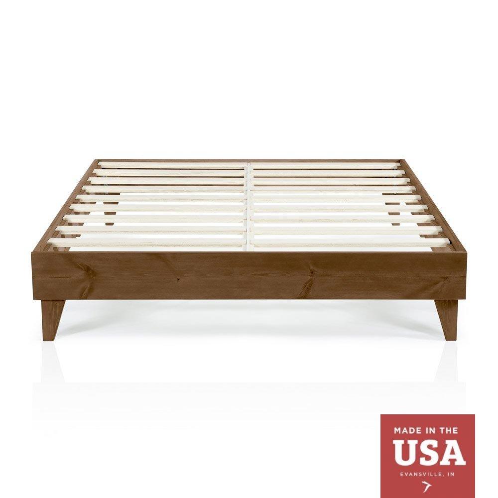 Wood Platform Bed Frame | Twin Size | Modern Wooden Design | Solid Wood | Made in U.S. | Easy Assembly | Walnut