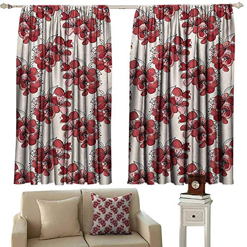(DuckBaby Customized Curtains Floral Japanese Culture Cherry Blossom Coming of The Spring Birth of The Nature Thermal Insulated Tie Up Curtain W63 xL72 Ruby Pale Pink Cream)