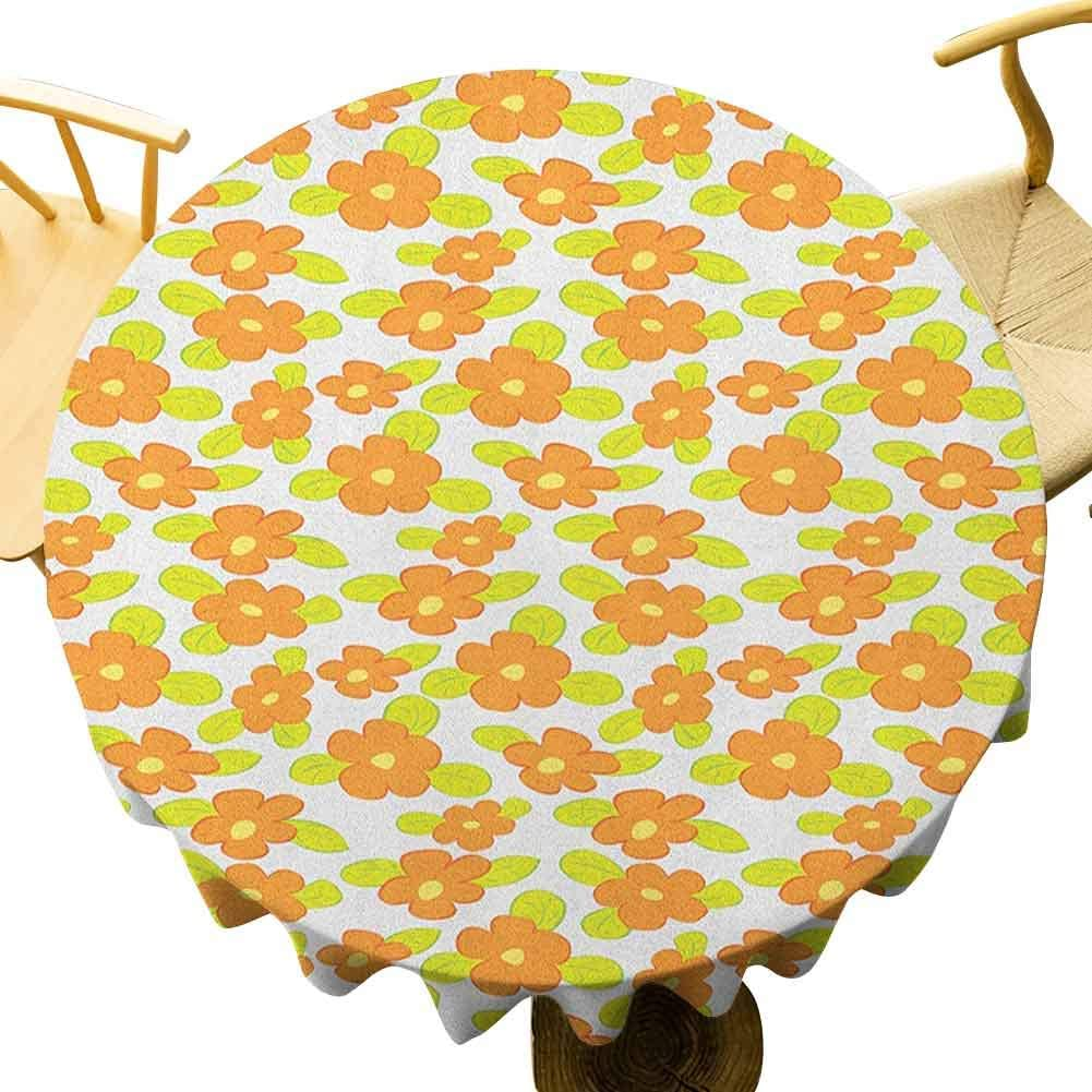 Orange Tablecloth - 55 Inch Round Table Cloth Decoration Kids Theme Cute Girlish Pattern with Doodle Flowers and Green Leaves Prevent Scratching The Table Orange Apple Green Yellow