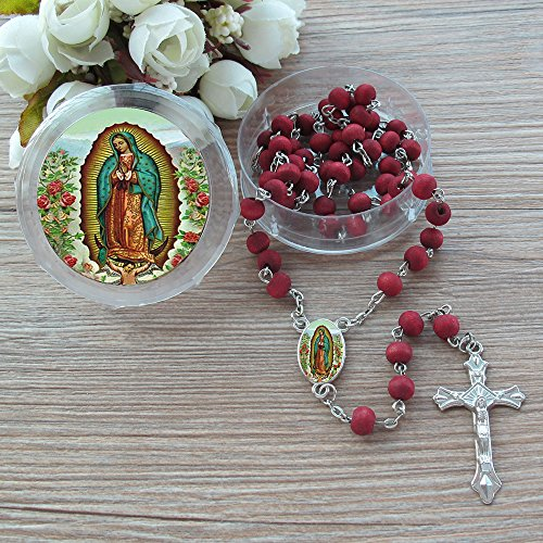 Our Lady Of Guadalupe Rosary (Our Lady of Guadalupe Rose Petal Scented Rosary - 6 Pcs Red Rosaries with Individual Matching Gift Box)