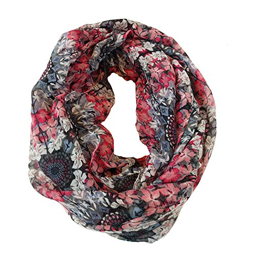 Medley Pattern - Infinity Loop Scarf Fashionable Soft Lightweight Multicolors and Patterns For Women (Pink & Lavender Medley)
