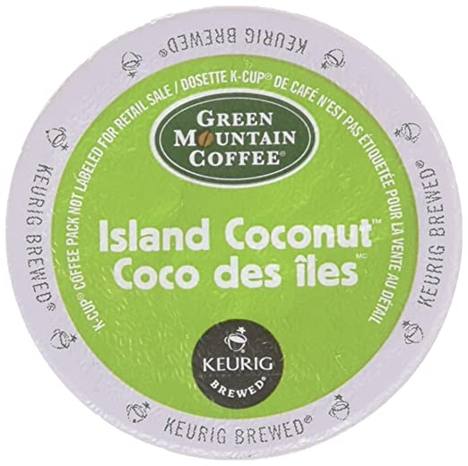 48 Count - Green Mountain Island Coconut K-Cup Coffee for Keurig Brewers