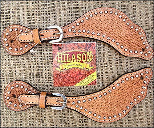 HILASON S135 New Western Leather Spur Straps Basket Weave Tool Light Oil from HILASON