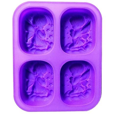LeisialTM DIY Molde de Pastel de Silicona Forma en Ángel Niño Niña para Candle Mold Cookie Jabones Hechos a Mano Azúcar Chocolate Púrpura: Amazon.es: Hogar
