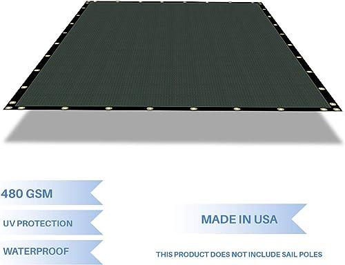 E K Sunrise Waterproof Pergola Replacement Cover Gazebo Canopy Sun Shade Sail Rectangle Shade Cloth Straight Edge Awning Tarp Solid Vinyl UV Block for Porch Patio Balcony 10 x 20 Green