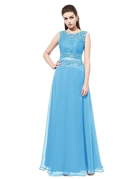 Dresstells reg;Vestido Mujer Corto Fiesta Boda Noche Sin Mangas De Encaje Aplicaciones Azul 54W