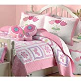 HT 2 Piece Girls Multi Color Butterfly Flower Printed Quilt Set Twin, Green Pink White Square Box Floral Animal Printed Teen Themed Kids Bedding for Bedroom Cuddly Fancy Colorful, Cotton