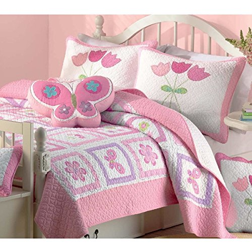 HT 2 Piece Girls Multi Color Butterfly Flower Printed Quilt Set Twin, Green Pink White Square Box Floral Animal Printed Teen Themed Kids Bedding for Bedroom Cuddly Fancy Colorful, Cotton by HT