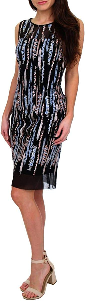 Laundry by Shelli Segal Women's Sequin Mesh Sleeveless Sheath Dress