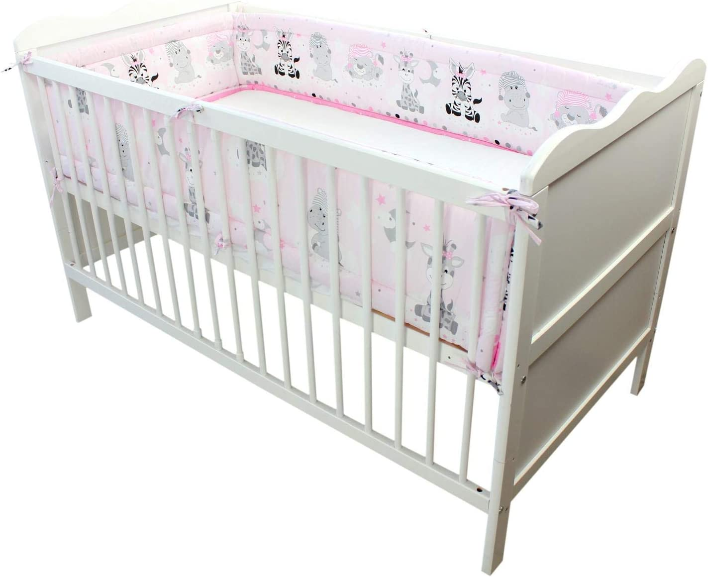 TupTam Baby Cot Bumper All Around Padded Bed Protection 420x30 cm Cot 140x70 cm Hearts 2 Pink