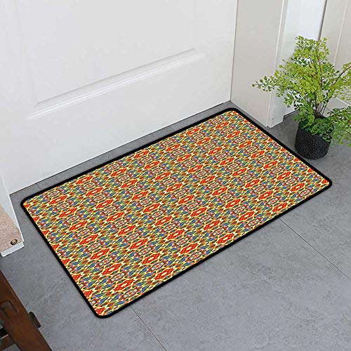 TableCovers&Home Front Door Mat Carpet, Geometric Doormats for High Traffic Areas, Floral Pattern Warm Tones Abstract Arabic Culture Inspired Ethic Tribal Motifs (Multicolor, H36 x W60) (Arabic Staff)
