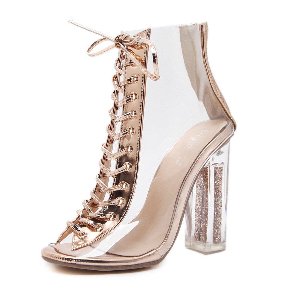 Damen Block High Heels Peep Toe Lace up Riemen Transparent Kristall Abend Party Prom Sandalen Schuhe