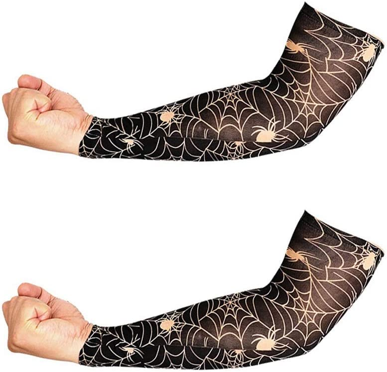 POOMALL Arm Sleeves for Men and Women - 2PCs Men Women Sunscreen Hand Fake Tattoo Arm Cover Tatto Sleeves Uv Cool Sleeves Cuffs Sport Elastic Stockings Arm Warmers