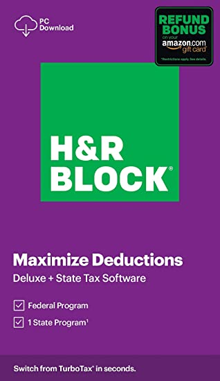 Amazon Com H R Block Tax Software Deluxe State 2020 With Refund Bonus Offer Amazon Exclusive Pc Download Software