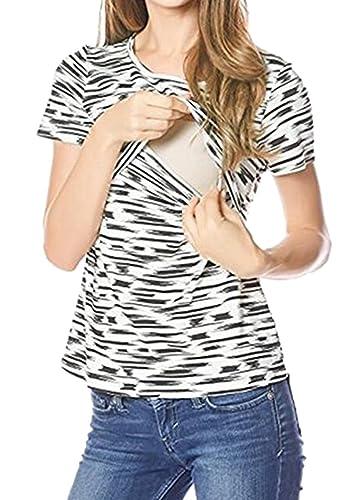 Anguang Mujer Apagado Hombro Lactancia Camiseta de Rayas Maternidad de Manga Corta