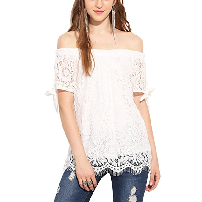 ab5ca26e374 iShine Elegant Women s Summer Casual Floral Hollow Lace Tops Off Shoulder  Short Sleeve Bowknot Blouse T Shirt at Amazon Women s Clothing store