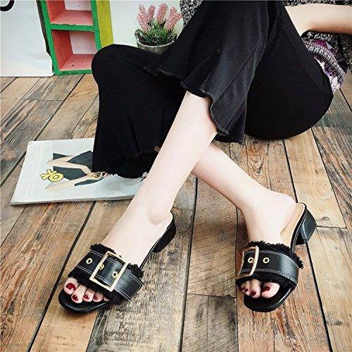 Externo EU 35 Gruesas Negro Desgaste Mujer 5 Zapato Chanclas Abierto Tráiler 3 US 5 Palabra 5 con UK SCLOTHS R8agt6