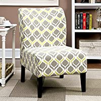 Home Bessia Modern Patterned Accent Chair Grey and Yellow Ogee Pattern