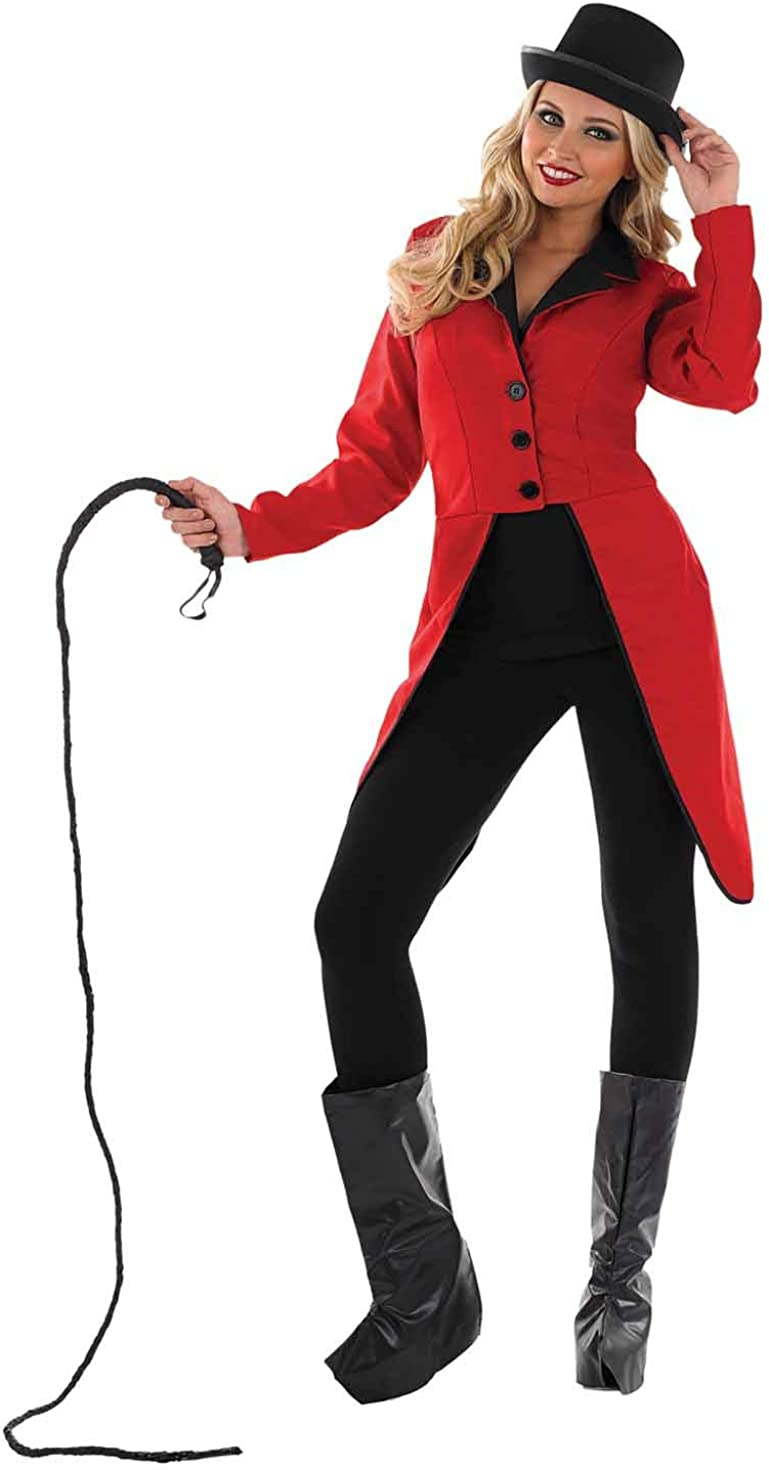 BLACK TAILCOAT WITH RED ADULT ONE SIZE CIRCUS RINGMASTER FANCY DRESS