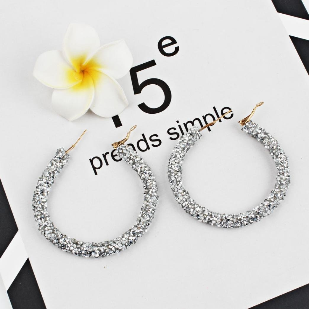 ManxiVoo Fashion Womens Multicolored Hoop Earrings with Full Crystal Rhinestone Big Circle Earring