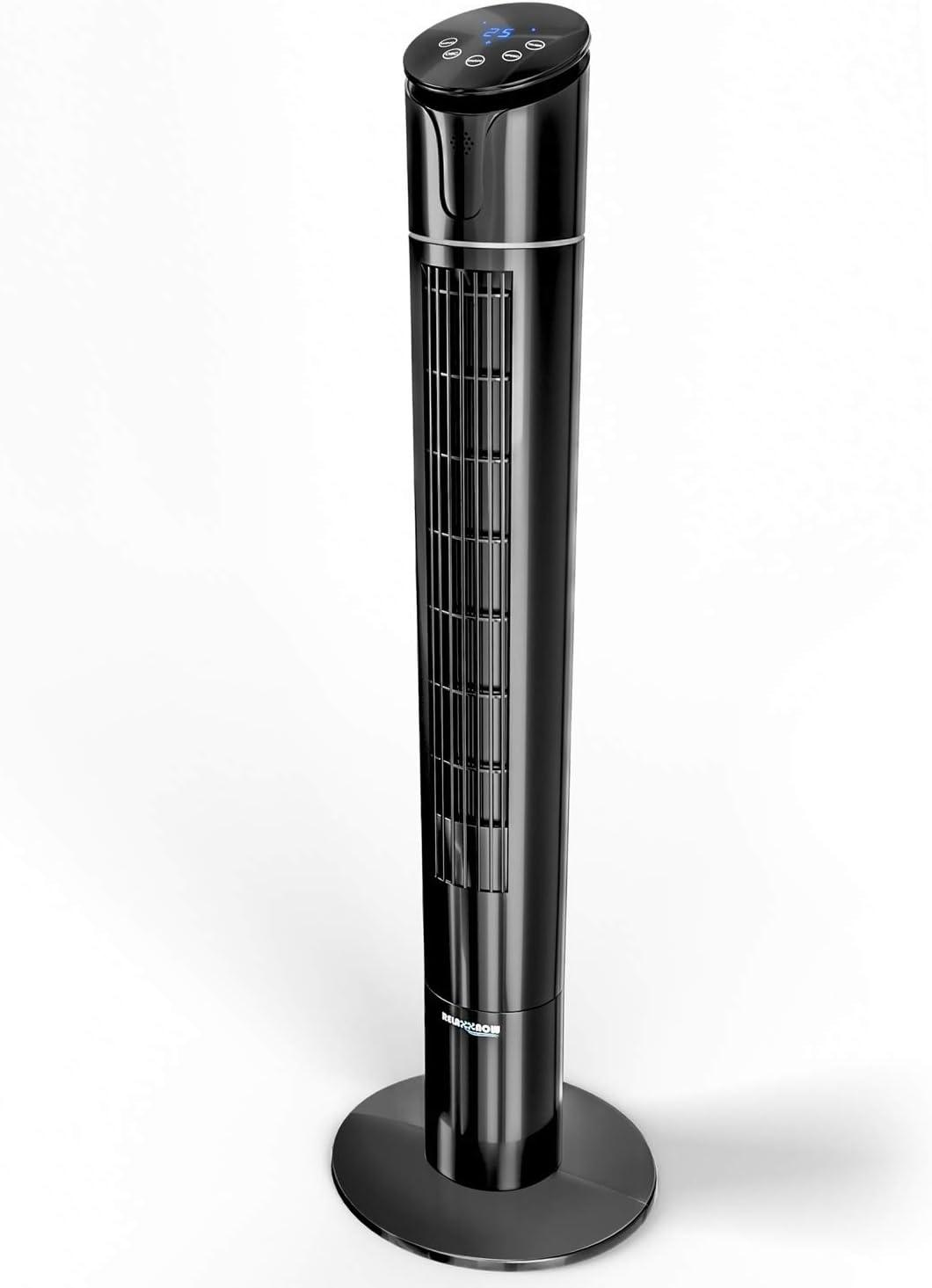 RelaxxNow Ventilador de Torre táctil de 50W Multi Sensor Muestra Temperatura   Ventilador Torre silencioso de 110 cm con Mando a Distancia   Oscilación 60° + 4 Modos   Marca de Calidad Alemana VTX450