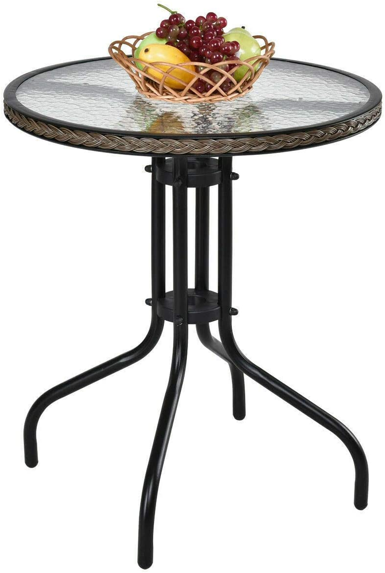 Patio Lawn Garden 24 Patio Furniture Glass Top Patio Round Table Steel Frame Dining Table Dining Tables